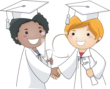 Royalty Free Clipart Image of Child Graduates Shaking Hands