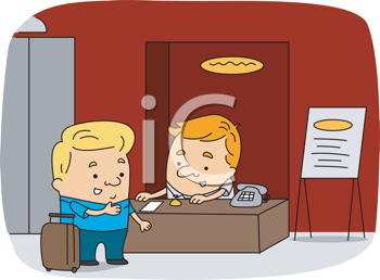 Royalty Free Clipart Image of a Man at a Receptionist's Desk