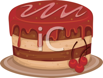 Royalty Free Clipart Image of a Cherry Cake