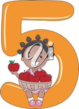 Illustration of a Kid Holding a Basket of Apples