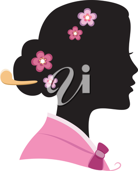 Illustration Featuring the Silhouette of a Korean Woman