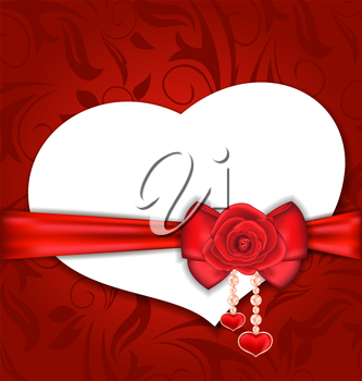 Illustration card heart shaped with silk bow and red rose for Valentine Day - vector