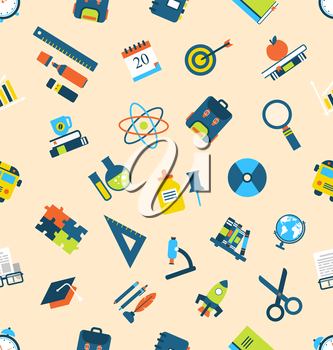 Illustration Seamless Texture with of Education Icons - Vector
