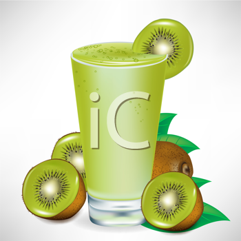 kiwi milkshake with kiwi fruit and pieces