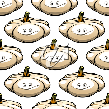Funny cartoon pumpkin vegetable seamless pattern for food or another design