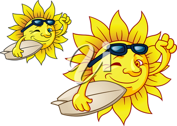 Cute cartoon bright yellow hot surfing sun with sunglasses carrying a surfboard, two color variations on white