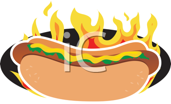 Royalty Free Clipart Image of a Hot Dog With Flames