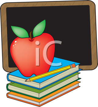 Royalty Free Clipart Image of an Apple, Books and a Chalkboard