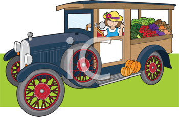 Royalty Free Clipart Image of a Young Woman Driving a Truck Full of Vegetables
