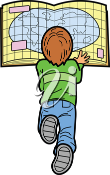 Royalty Free Clipart Image of a Boy Lying on the Floor Reading a Map
