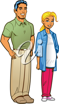 Royalty Free Clipart Image of an Expectant Couple