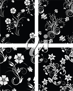 Set of seamless vector floral backgrounds. For easy making seamless pattern just drag one of four group into swatches bar, and use it for filling any contours.