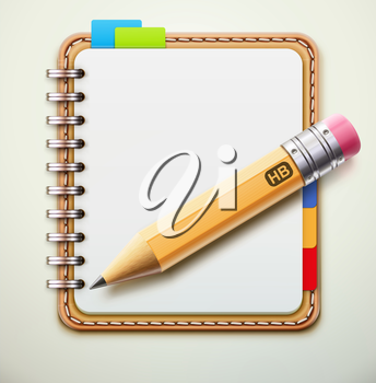 Vector illustration of realistic leather spiral notebook and detailed pencil