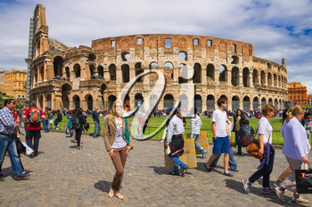 ROME, ITALY - MAY 04, 2014: People near the Colosseum in Rome, Italy