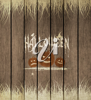 Wooden Halloween Background With Pumpkins