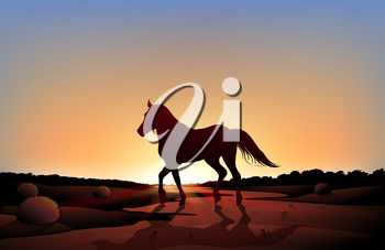 Illustration of a horse in a sunset scenery at the desert