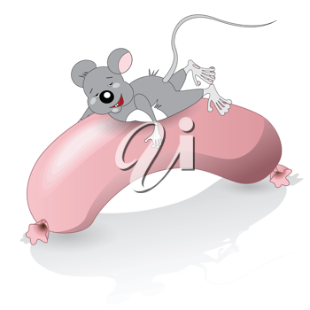 Royalty Free Clipart Image of a Mouse on a Hot Dog