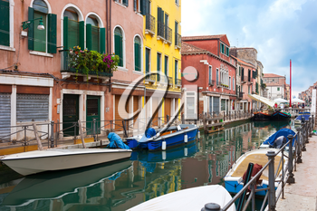 View of beautiful colorful Venetian canal, Venice, Italy