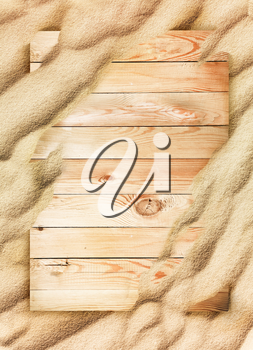 Wood background and sand texture. Wave of the blow of the wind.