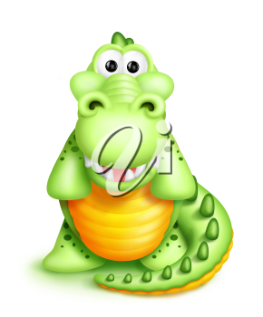 Royalty Free Clipart Image of a Cartoon Alligator