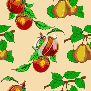 Royalty Free Clipart Image of Peaches and Pears