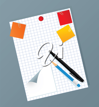 Collection of icons of office subjects. A vector illustration
