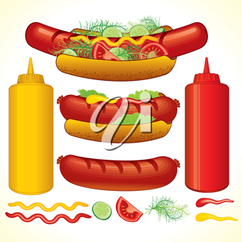 Royalty Free Clipart Image of Hot Dogs and Condiments