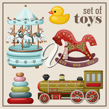 Set of vintage toys. Vector illustration