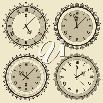 Vector vintage clock set, fully editable eps 8 file