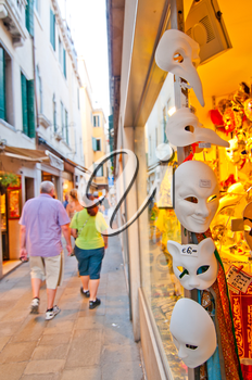 Venice Italy souvenir shop with carnival masks
