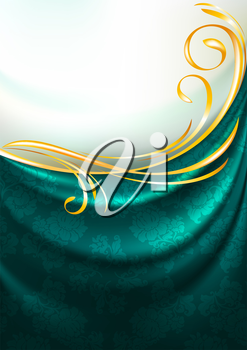 Dark emerald fabric drapes with ornament, background, Eps10, Gradient mesh
