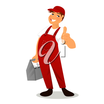 Vector illustration of Plumber in red overalls