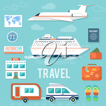 Icons set of traveling, planning a summer vacation, tourism and journey objects and passenger luggage in flat design. Different types of travel. Business world travel concept
