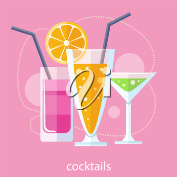 Cocktail drink fruit juice in flat design style. Retro style holiday cocktails. Set of alcoholic cocktails