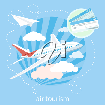 Flat design style modern concept with item icons of detailed airplane flying through clouds in the blue sky