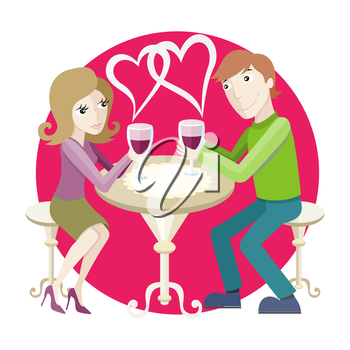 St Valentine concept. Young happy amorous couple with glasses of redwine on romantic date at restaurant.