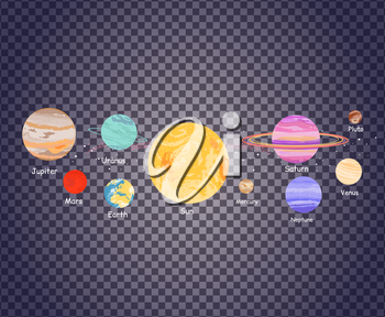 Solar system icon flat design style transparent. Earth planet, space and sun, science astronomy, galaxy and saturn, jupiter and venus, mars and mercury, uranus and neptune illustration on transparency