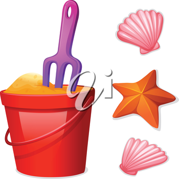 Illustration of a pail of sand and the seashells on a white background