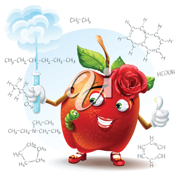 Royalty Free Clipart Image of an Apple Chemistry Teacher Wearing a Rose