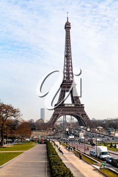 view of Eiffel tower in Paris from Trocadero