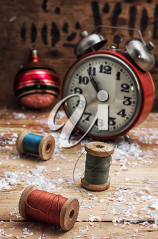 Christmas decoration clock and toys in vintage style