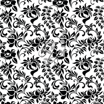 Seamless pattern with black flowers on a white background
