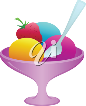 Sweet dessert, ice cream and fruit in a vase with a spoon, vector, isolated